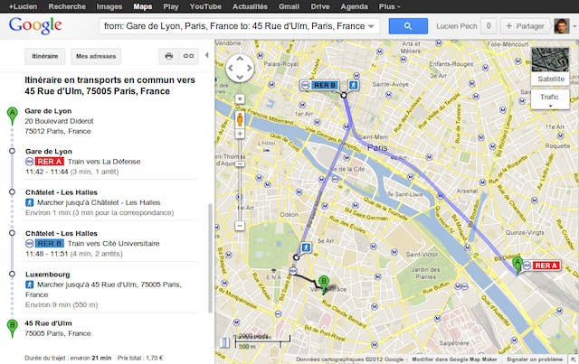 Google Transit Paris