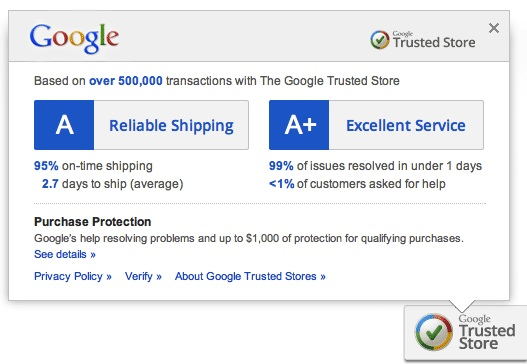 Google trusted stores les sites ecommerce certifi s par for Trusted websites for online shopping