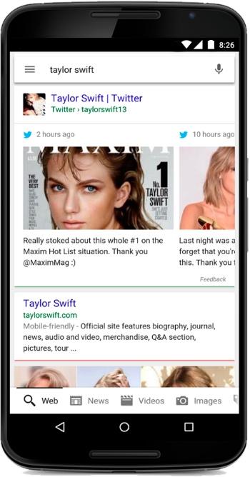 Intégration de Twitter dans Google mobile