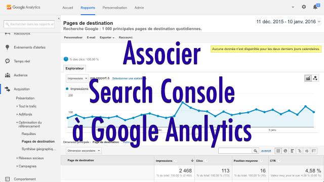 Association Google Analytics et Search Console