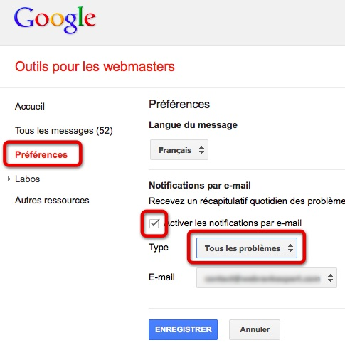 Messages GWT par email
