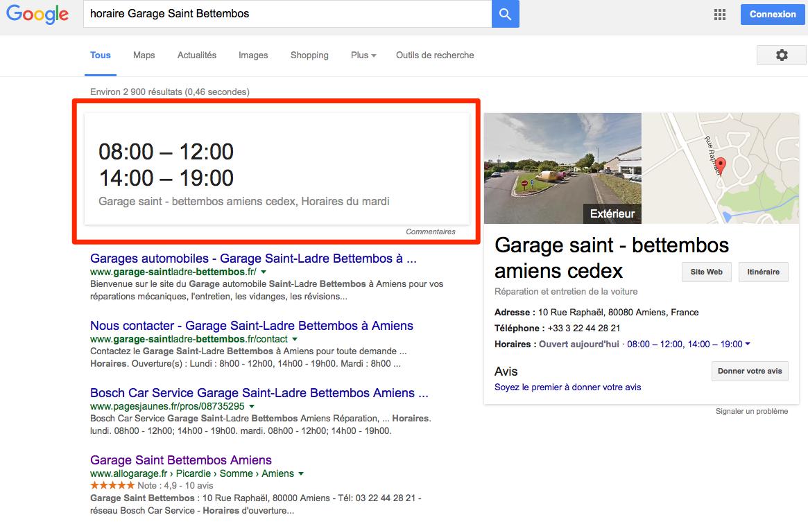 answer box pour les horaires dans les résultats de recherche Google