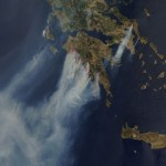 Photos satellite des incendies en Grèce dans Google Earth