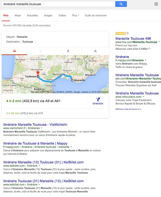 carte itineraire serp google