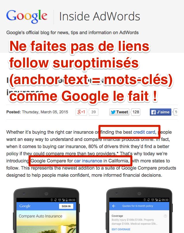 Liens suroptimisés blog Google