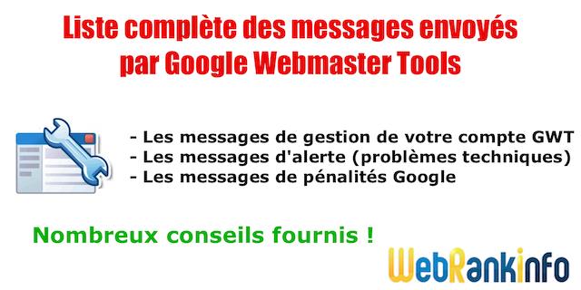Messages GWT pénalités Google
