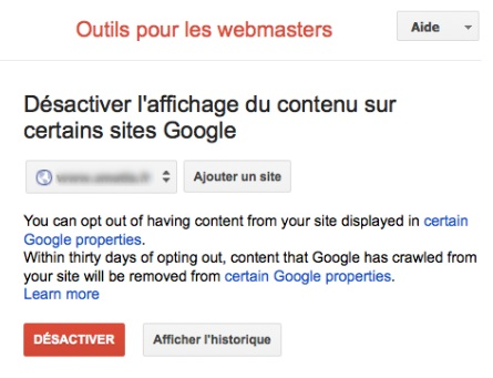 Opt out moteurs verticaux Google