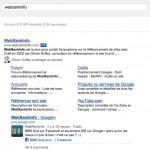 La page Google+ associée à un site s'affiche en plus des sitelinks