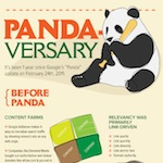 Infographie Google Panda, 1 an après la v1 du filtre Panda: Pandaversary