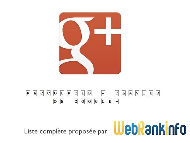 Liste raccourcis-clavier Google Plus