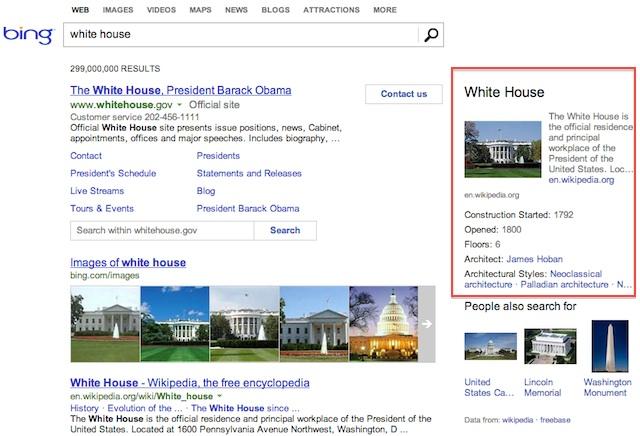Exemple de requête avec Knowledge Graph sur Bing