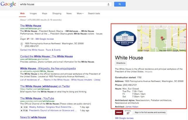 Exemple de requête avec Knowledge Graph sur Google