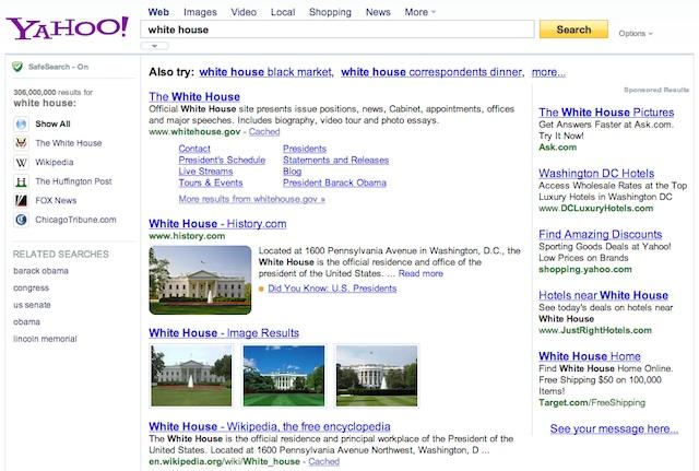 Exemple de requête Knowledge Graph absent sur Yahoo