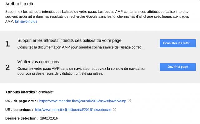 Exemple de rapport d'erreur AMP dans Search console