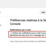 Tous les messages envoyés par Google Webmaster Tools