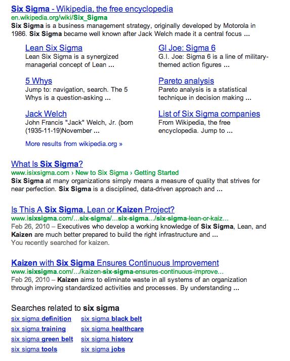 SERP à 4 résultats : six sigma