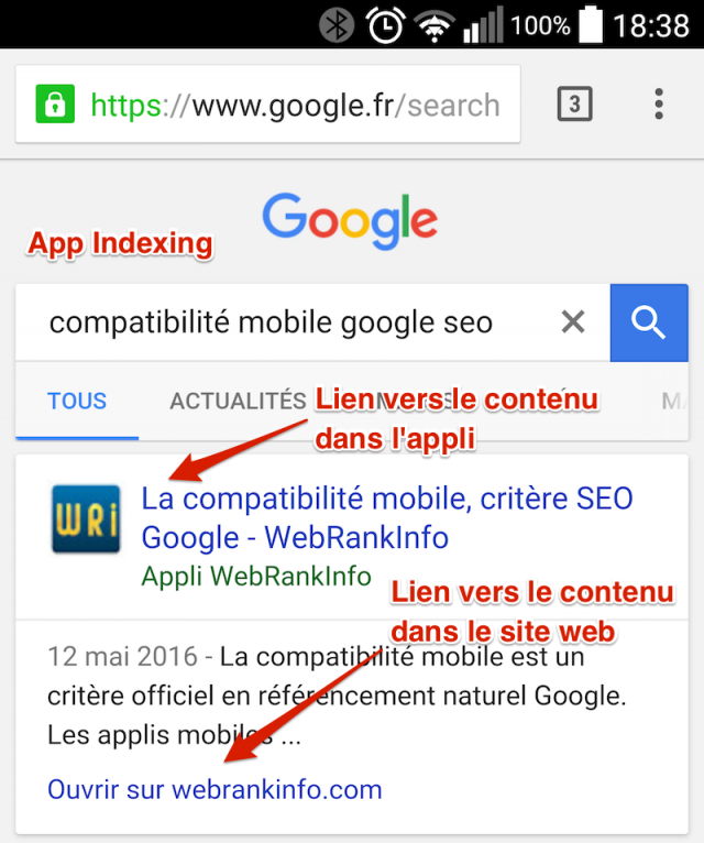 App Indexing SERP