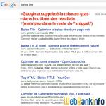 Google supprime le gras dans les titres des résultats