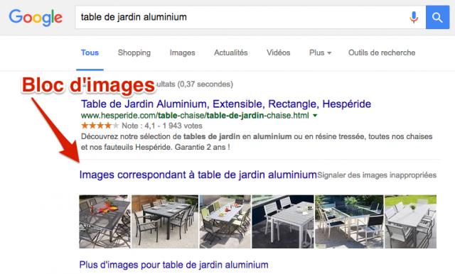 Bloc images SERP Google