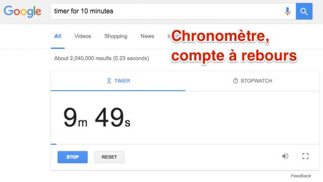 Chronomètre dans Google