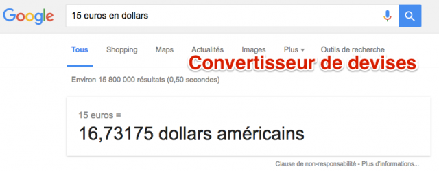 Convertisseur devises Google