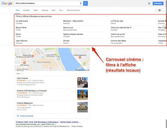 Films à l'affiche (dans Google)