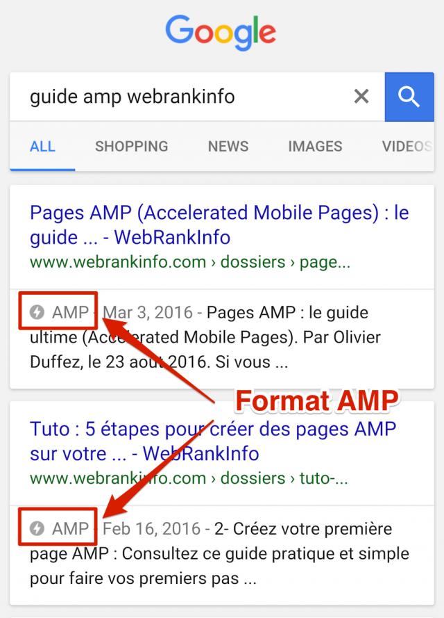 Pages AMP dans SERP