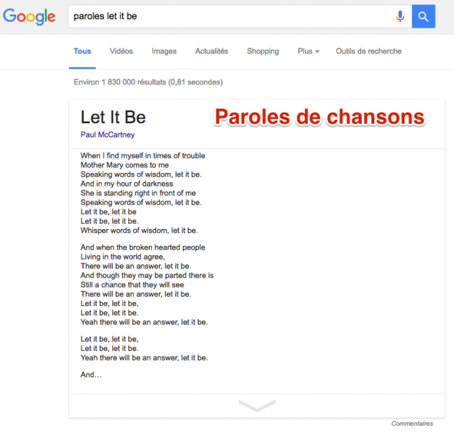 Paroles de chansons dans Google
