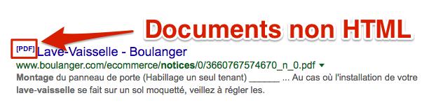 PDF dans SERP Google