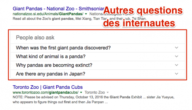 People also ask dans Google