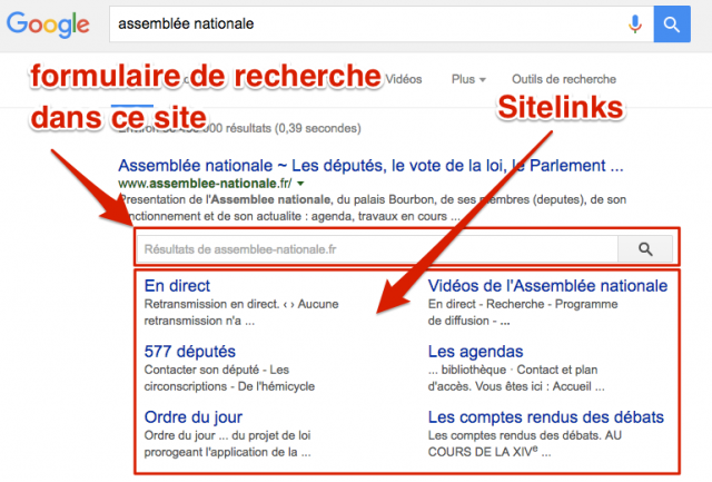 Sitelinks + searchbox