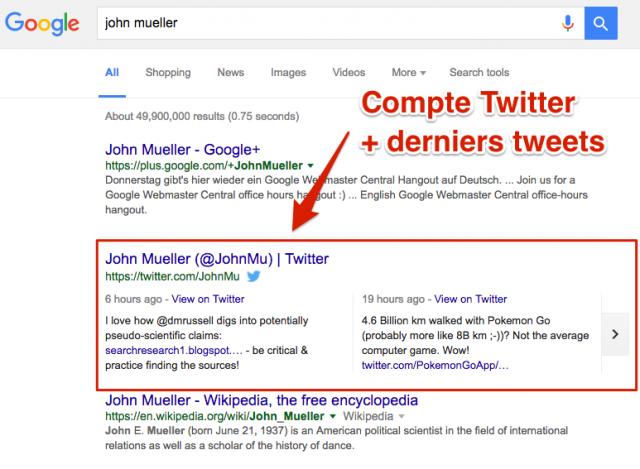 Tweets dans Google