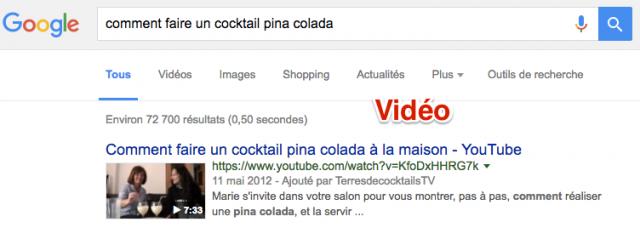 Vidéo dans résultats Google