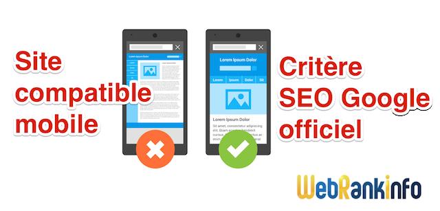 Site compatible mobile critère SEO
