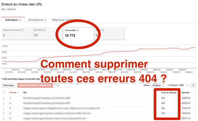 Supprimer erreurs 404