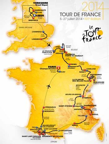 Tour de France 2014: parcours complet