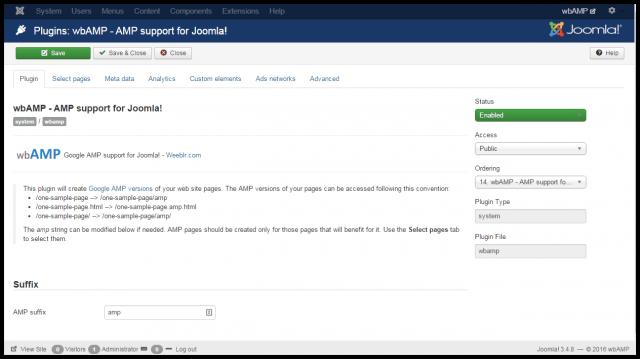 wbAMP plugin AMP Joomla