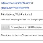 WebRankInfo sur Google+ : page vérifiée et URL personnalisée :-)