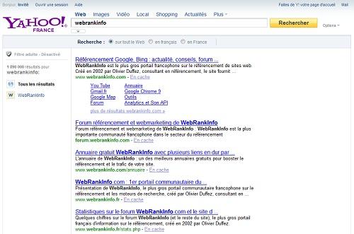 Les SERP de Yahoo France fournis par Bing
