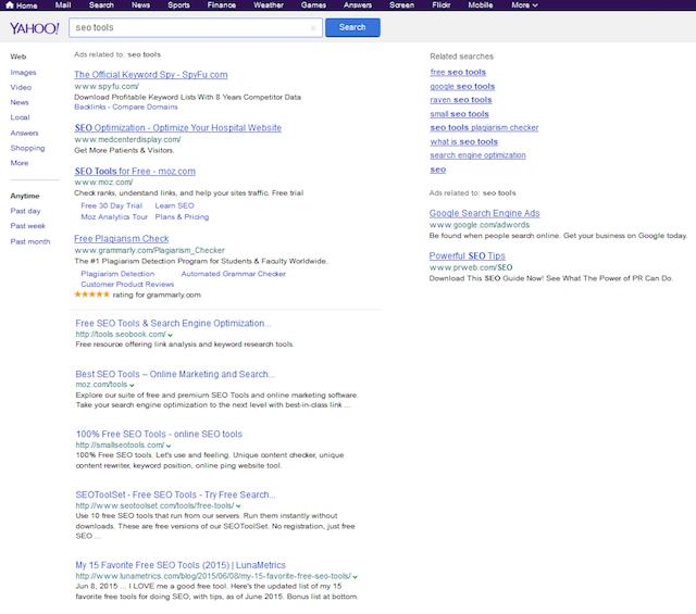 Résultats Yahoo fournis par Google