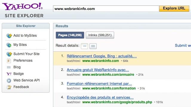 Yahoo Site Explorer : exemple avec la page www.webrankinfo.com