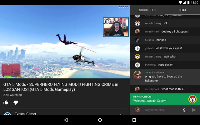 Page vidéo YouTube Gaming