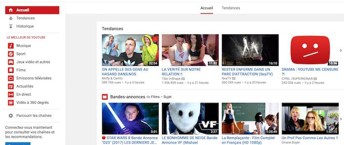 Youtube page d'accueil