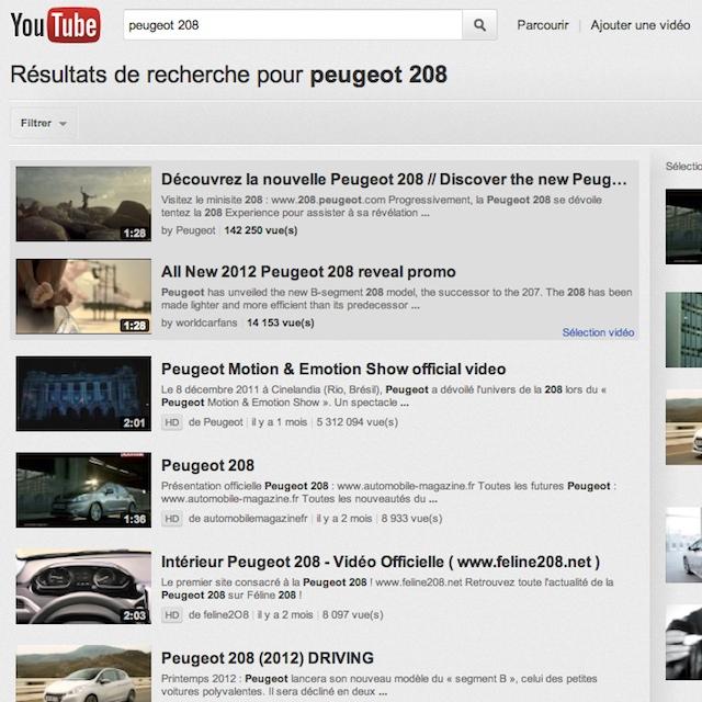 Résultats de recherche internet sur Youtube