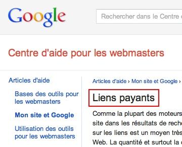 Pénalité Google pour achat d'articles sponsorisés avec liens follow