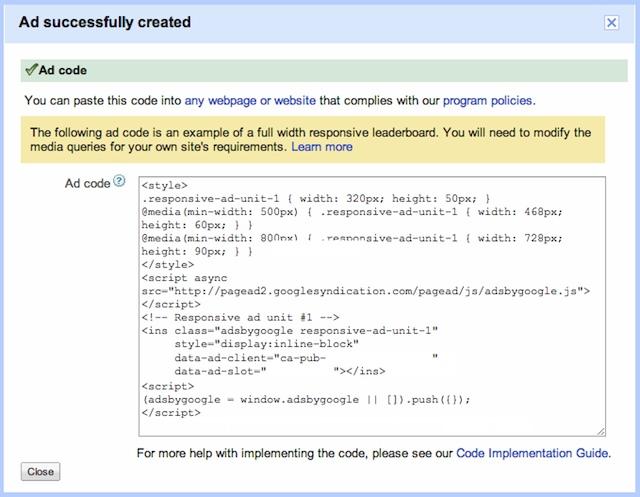 Code JS CSS adsense responsive design