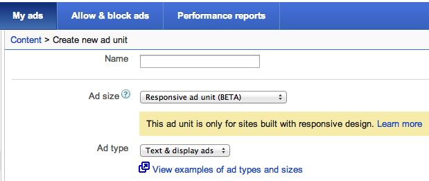 Ad unit adsense responsive design