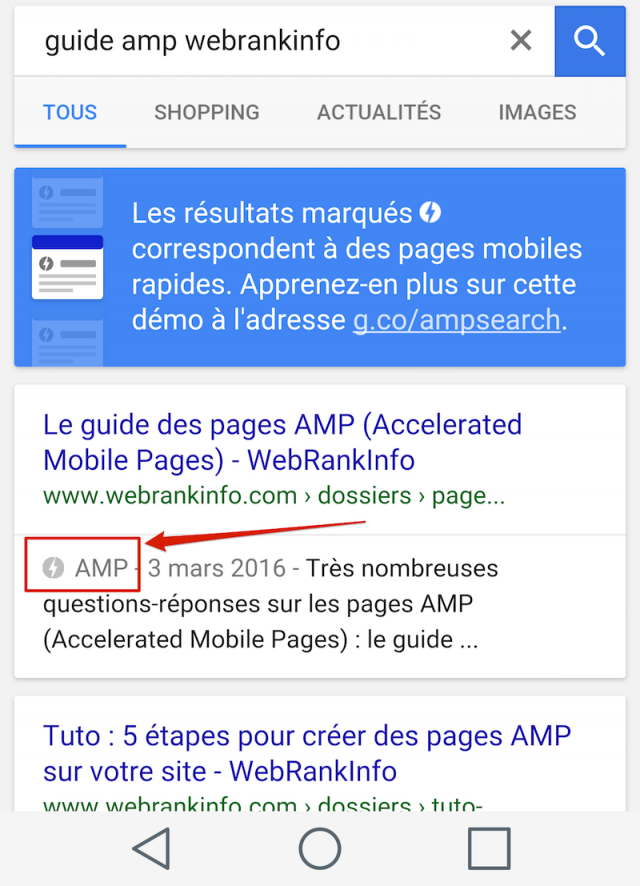 Pages AMP dans résultats Google