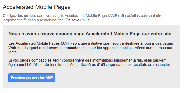 AMP Search Console aucune page