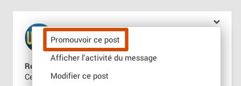 Lien promouvoir un post dans Google+